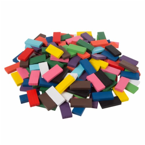 Colorful Wooden Dominoes Block Set with 200 Blocks- Classic Educational Game Perspective: right