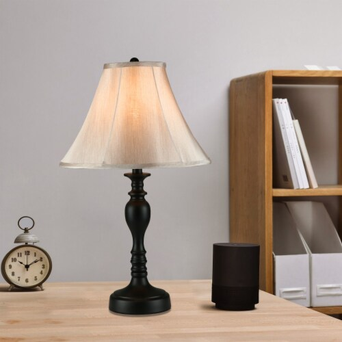 Cedar Hill 20-In Dark Bronze Table Lamp with Fabric Shade Perspective: right