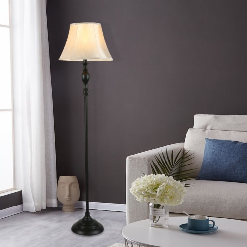 Cedar Hill 59-in Dark Bronze Floor lamp with fabric shade Perspective: right