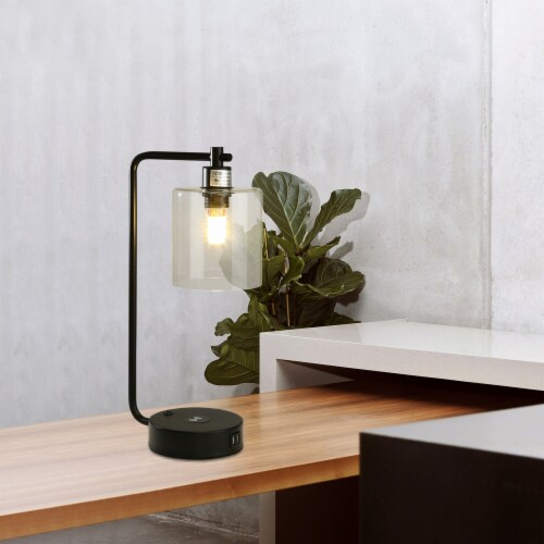 """19"""" Glass Shade Wireless Table Lamp with 2 USB Perspective: right"""