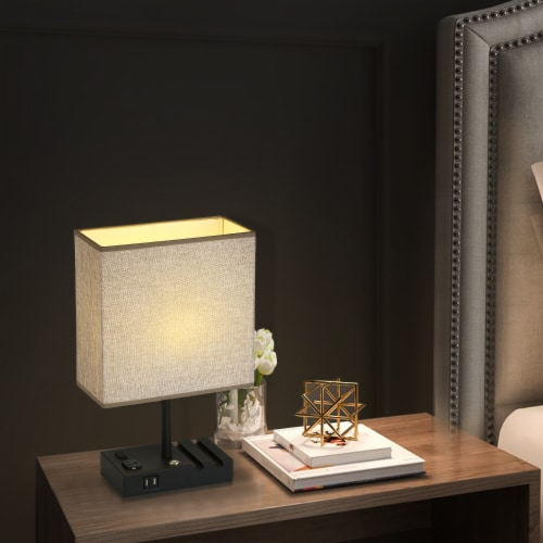 17 in. 2 USB Port Table Lamp with 2 Charging outlets and Charging Dock Perspective: right