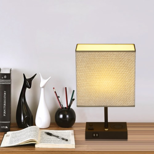 17 in. Wireless Charging Table Lamp with 2 USB Ports and 2 Charging outlets Perspective: right