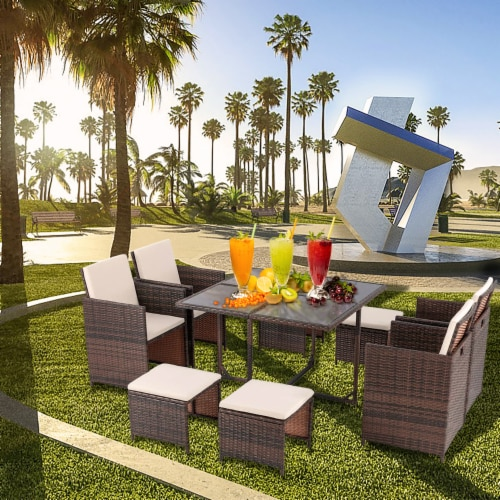 9 Pieces Rattan Patio Furniture Set Outdoor Dining Set with Waterproof Fabric Cushions Perspective: right