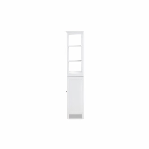Baxton Studio Beltran Modern and Contemporary White Finished Wood Bathroom Storage Cabinet Perspective: right