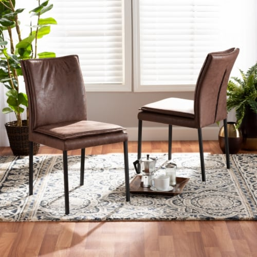 Baxton Studio Gerard Brown and Black Finished Metal 2-Piece Dining Chair Set Perspective: right