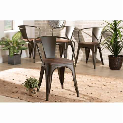 Ryland Brown Metal and Walnut Brown Finished Wood 4-Piece Dining Chair Set Perspective: right