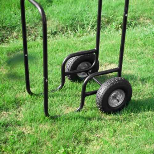 Steel Firewood Log Cart Wood Mover Heavy Duty Hauler Rack on Wheels Dolly Perspective: right