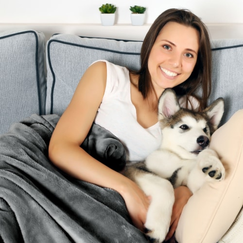 Gray Waterproof Pet Blanket � 60 x 50  Soft Plush Throw Protects Couch, Chair, Car, Bed from Perspective: right