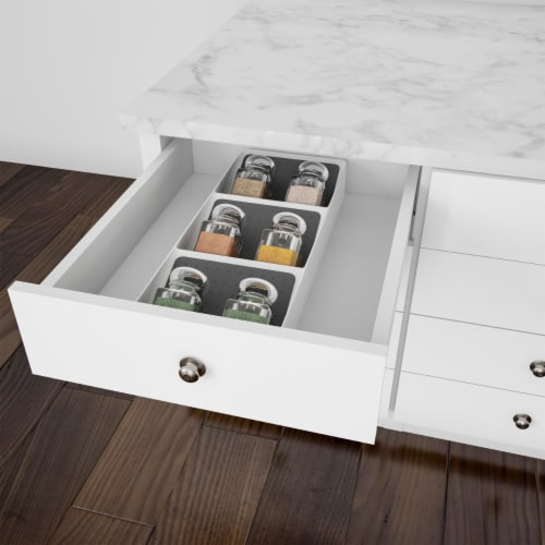 Spice Drawer Organizer 3-Tier Plastic Nonslip Space Saver Storage Rack with Angled Shelves Perspective: right