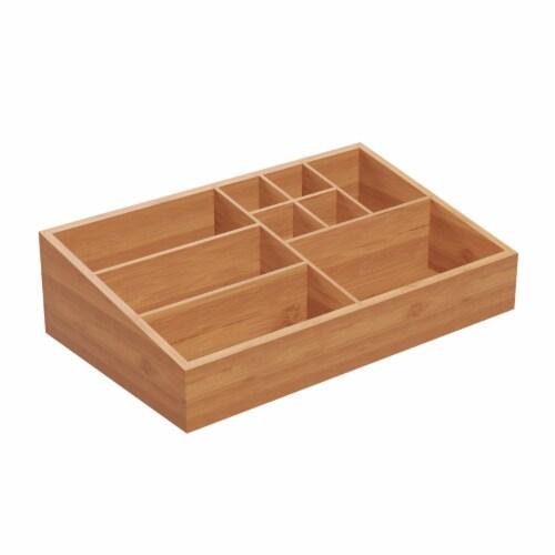 10 Compartment Bamboo Organizer- Desk Caddy-Bathroom Countertop Storage-Office Accessory Perspective: right
