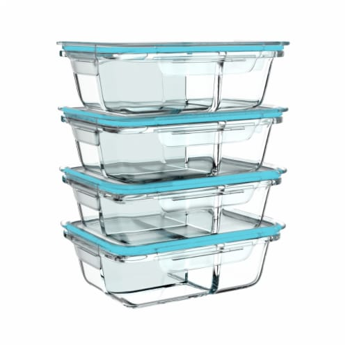 4 Glass Food Storage Containers Three Compartment Portion Control Meal Prep with Snap on Lids Perspective: right