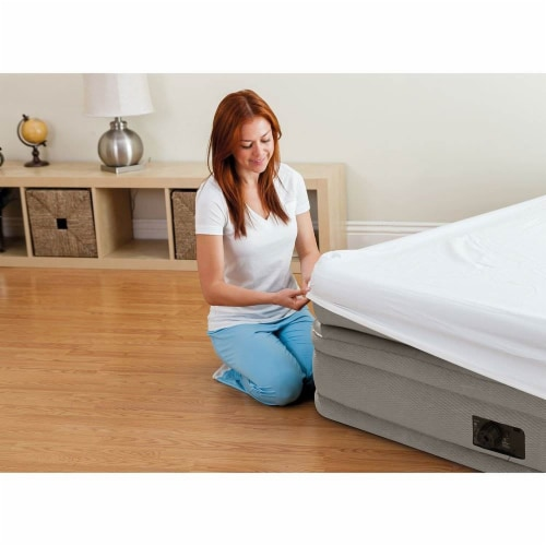 Intex Twin Prime Comfort Elevated Air Mattress w/ Built In Pump & Cordless Pump Perspective: right