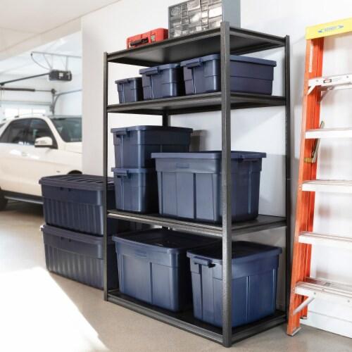 Rubbermaid 31 Gallon Stackable Storage Container, Dark Indigo Metallic (6 Pack) Perspective: right