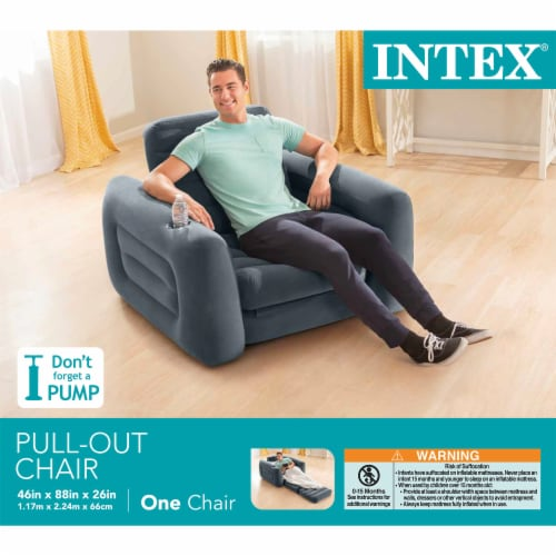 Intex Inflatable Pull Out Sofa Chair Sleeper w/ Twin Sized Air Mattress (3 Pack) Perspective: right