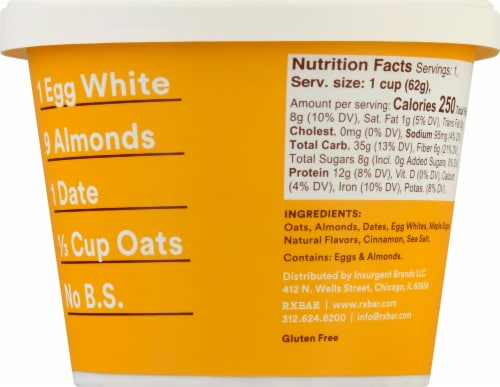 RX A.M. Gluten-Free Oats Maple Oat Cup Perspective: right
