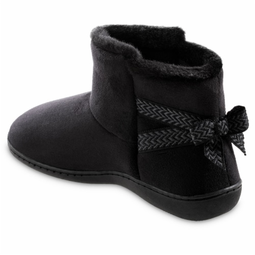 Isotoner­® Women's Microsuede Nelly Boot Slippers - Black Perspective: right