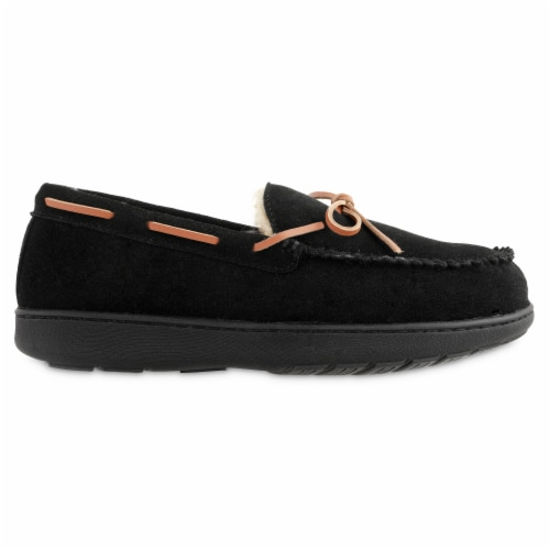 Isotoner­® Genuine Suede Moccasin Men's Slippers - Black Perspective: right