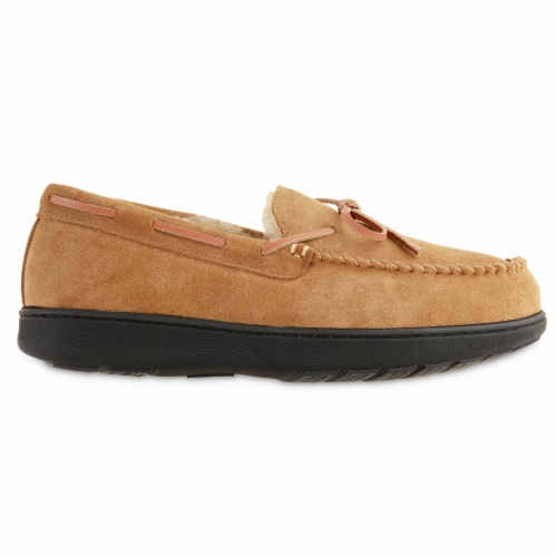 Isotoner® Genuine Moccasin Suede Men's Slippers - Brown Perspective: right
