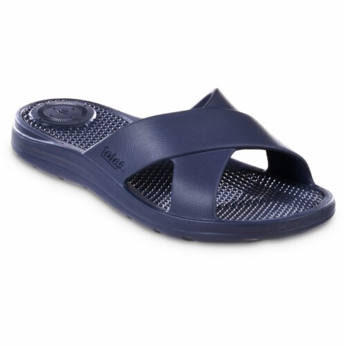 Totes Ara Cross Slide Women's Sandals - Navy Blue Perspective: right