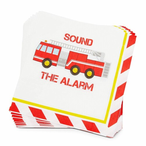 Fire Truck Birthday Party Dinnerware Set, Sound The Alarm (144 Pieces, Serves 24) Perspective: right