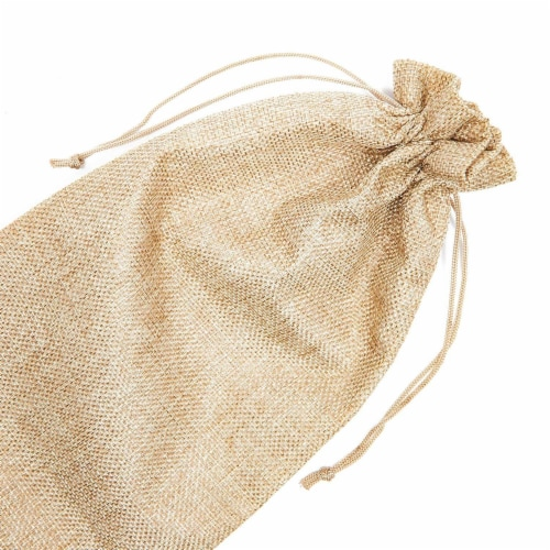 Natural Jute Burlap Wine Gift Bags with Drawstring (13-Inches, 24-Pack) Perspective: right