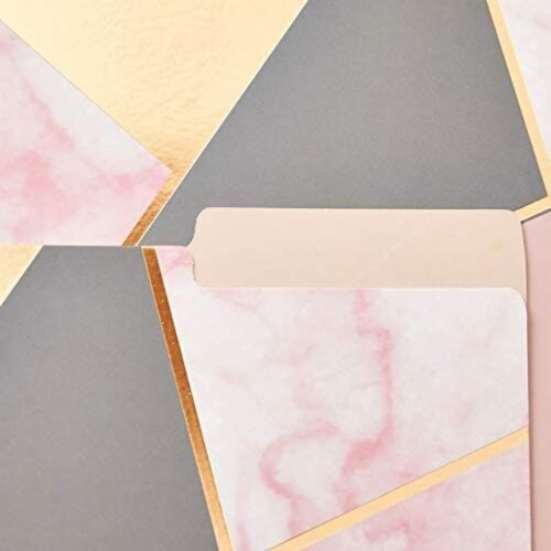 Geometric Marble File Folders, Rose Gold Office Supplies (Letter Size, 12 Pack) Perspective: right