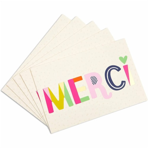 Blank Merci Thank You Cards with Striped Envelopes (6 x 4 Inches, 24 Pack) Perspective: right