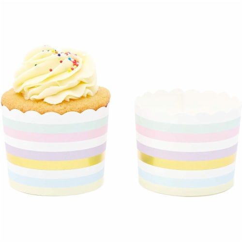 50-Pack Muffin Liners - Pastel and Gold Foil Striped Cupcake Wrappers Paper Baking Cups Perspective: right