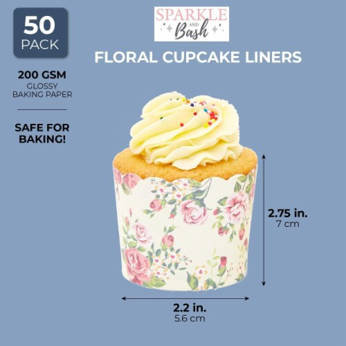 50-Pack Muffin Liners - Vintage Floral Cupcake Wrappers Paper Baking Cups Perspective: right