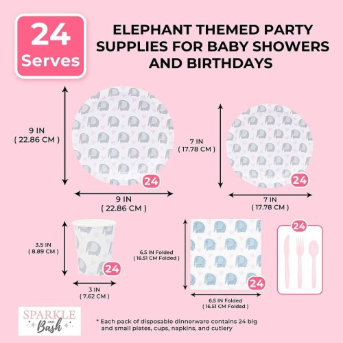 Elephant Themed Party Supplies Pack for Baby Showers (Serves 24) Perspective: right