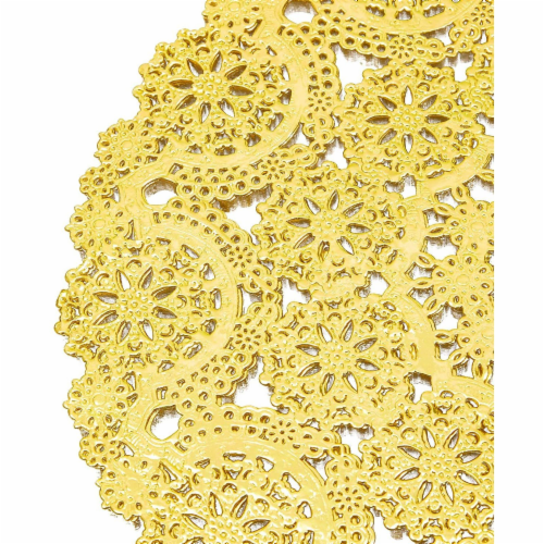 60 Pack Gold Paper Doilies 10 inch, Round Medallion Lace, Wedding Decorative Placemats Perspective: right