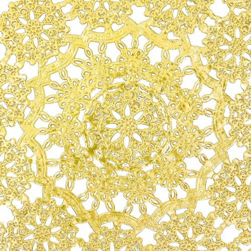 Gold Round Medallion Paper Lace Doilies (12 in, 60 Pack) Perspective: right