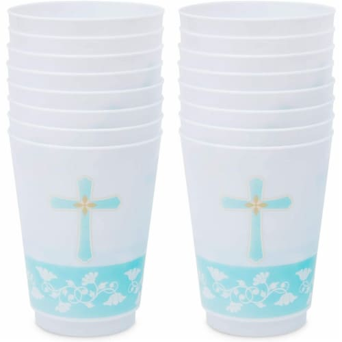 16 oz Baptism Tumbler Cups, First Communion Decorations, Party Supplies (16 Pack) Perspective: right