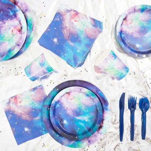 Galaxy Party Pack, Paper Plates, Plastic Cutlery, Cups, and Napkins (Serves 24, 168 Pieces) Perspective: right