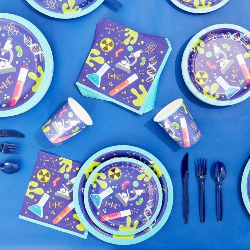 Science Lab Party Pack, Paper Plates, Cutlery, Cups, and Napkins (Serves 24, 168 Pieces) Perspective: right