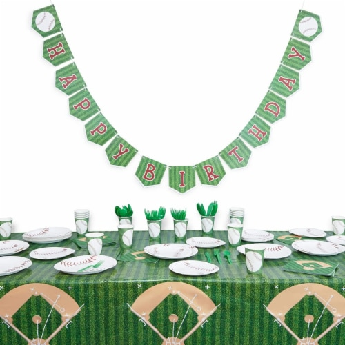 Baseball Tablecloth Birthday Party Plastic Table Cover (54 x 108 in, 3 Pack) Perspective: right