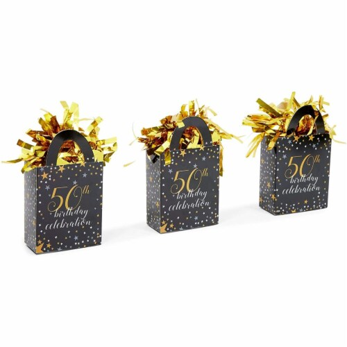 50th Birthday Party Balloon Weights, Black and Gold Decorations (6 oz, 6 Pack) Perspective: right
