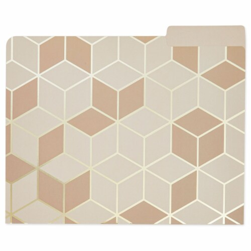 Decorative File Folders, 1/3 Cut Tab, Letter Size, Gold Foil Geometric (12 Pack) Perspective: right