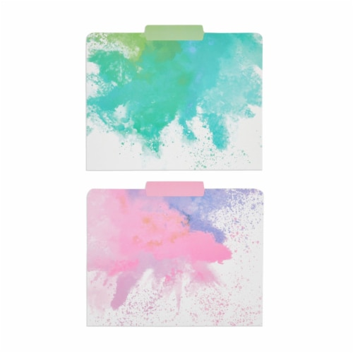 Rainbow Decorative File Folders, 1/3 Cut Tab, Letter Size, Watercolor (12 Pack) Perspective: right