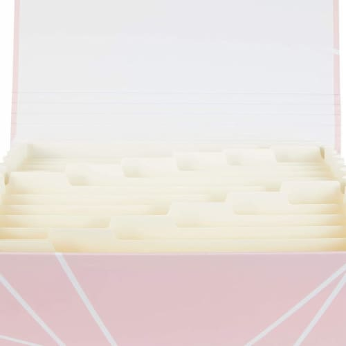 Expanding File Folder with10 Pockets, Pink Geometric (Letter Size) Perspective: right