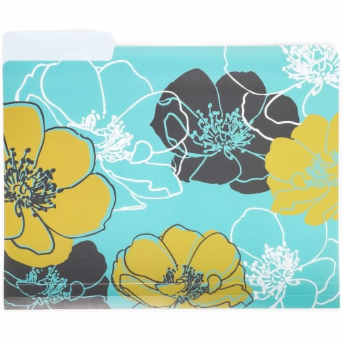 Plastic File Cabinet Folders 1/3 Cut Tab, Floral Designs (Letter Size, 6 Pack) Perspective: right