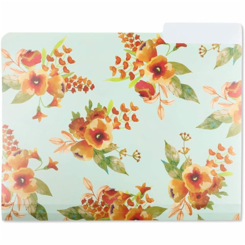Plastic Floral File Folders, 1/3 Cut Tabs (Letter Size, 6 Pack) Perspective: right