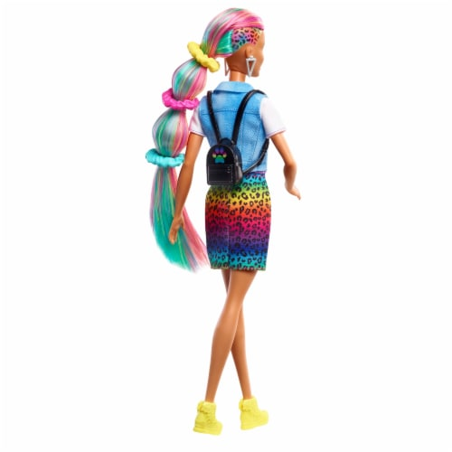 Mattel Barbie® Leopard Rainbow Hair Doll Perspective: right