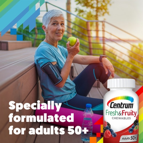 Centrum Adults 50+ Fresh & Fruity Mixed Berry Chewable Tablets Perspective: right