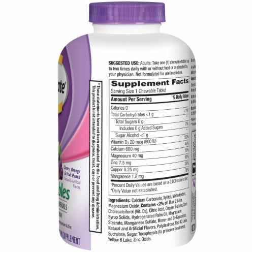 Caltrate Bone Health Advanced Cherry Orange & Fruit Punch Flavored Calcium Chewable Tablets Perspective: right