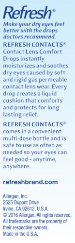Refresh Contacts Lens Comfort Eye Drops Perspective: right