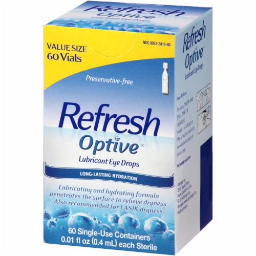 Refresh Optive Lubricant Eye Drop Vials Value Size Perspective: right