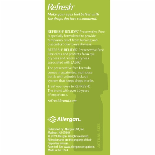 Refresh Relieva Preservative Free Lubricant Eye Drops Perspective: right