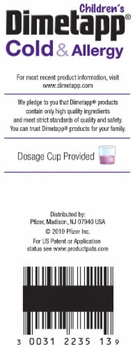 Dimetapp Children's Cold & Allergy Liquid Antihistamine & Decongestant Perspective: right