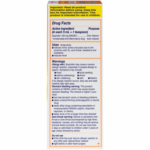 Motrin Children's Dye-Free Berry Flavor Pain & Fever Relief Liquid 100mg Perspective: right
